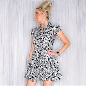 A. Byer Dresses - Black White Pattern Button Down Fit Flair Dress